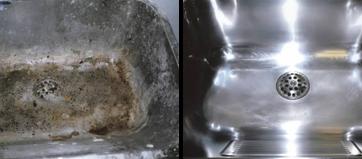 Afkalkning af badeværelse før og efter