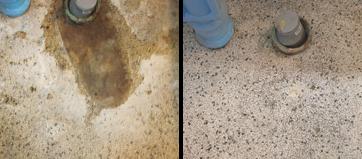 Slibning af terrazzogulve før og efter